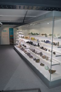 "The 7 metre long ""mineral wall"" display case"