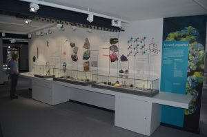 Display featuring the physical properties of minerals
